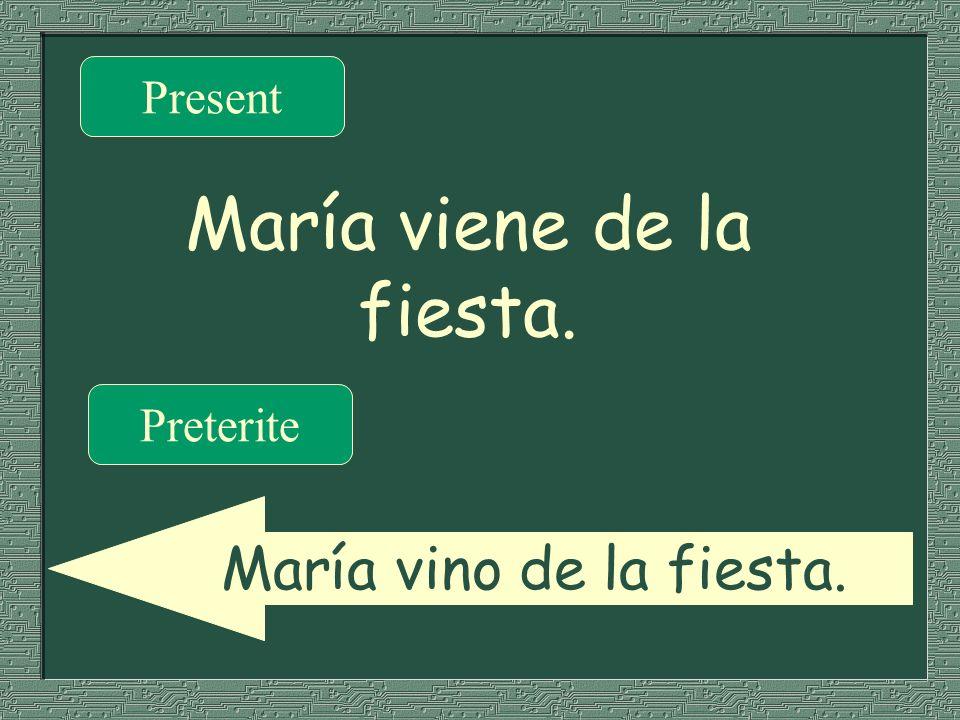 María viene de la fiesta. Present Preterite María vino de la fiesta.