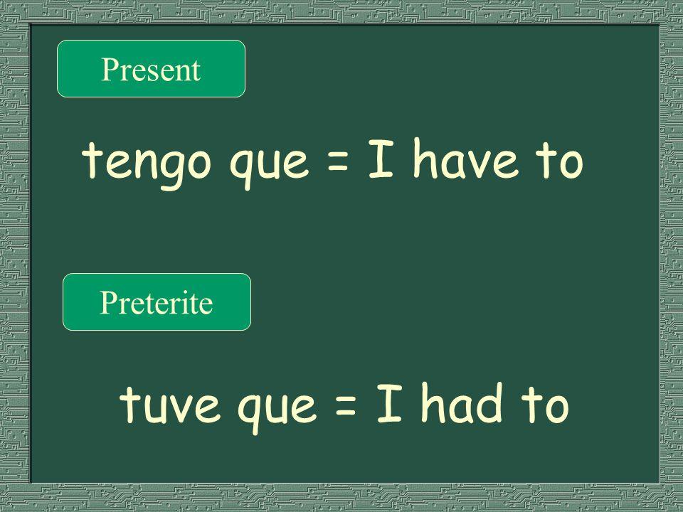 Present Preterite tengo que = I have to tuve que = I had to