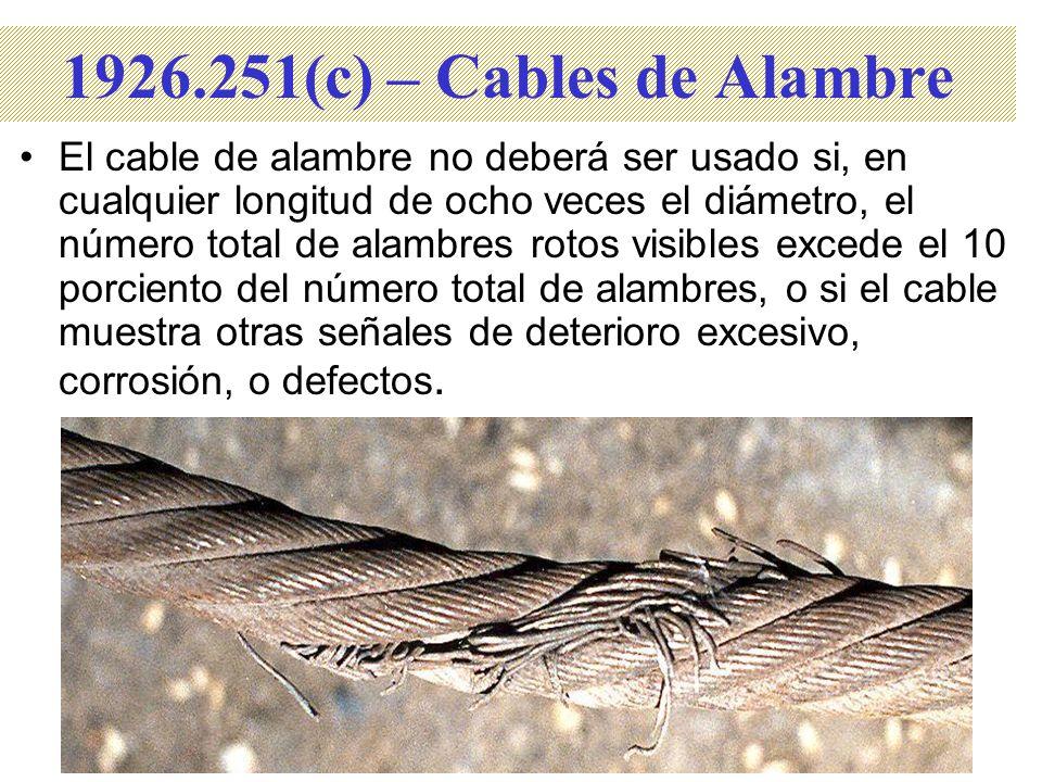 El cable de alambre no deberá ser usado si, en cualquier longitud de ocho veces el diámetro, el número total de alambres rotos visibles excede el 10 p