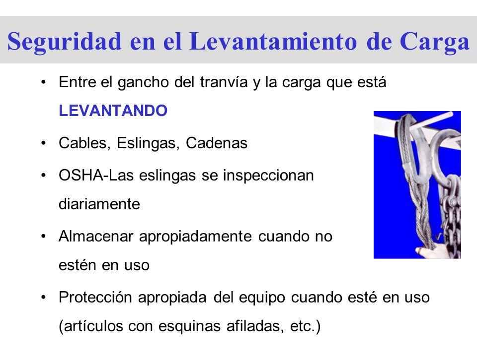 Seguridad en el Levantamiento de Carga Entre el gancho del tranvía y la carga que está LEVANTANDO Cables, Eslingas, Cadenas OSHA-Las eslingas se inspe