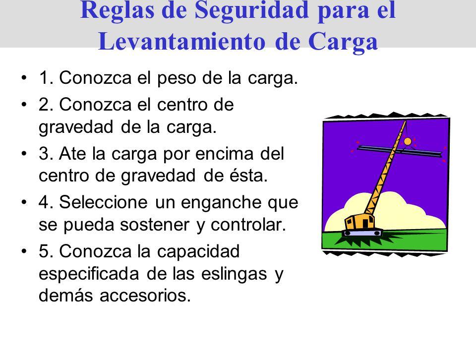 Reglas de Seguridad para el Levantamiento de Carga 1. Conozca el peso de la carga. 2. Conozca el centro de gravedad de la carga. 3. Ate la carga por e