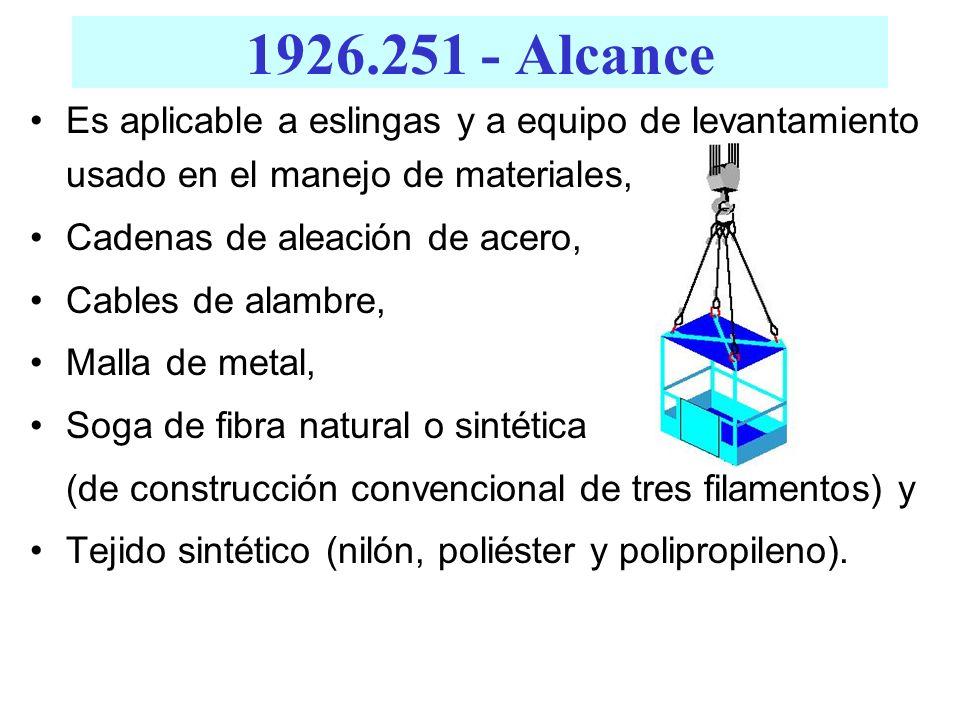 Es aplicable a eslingas y a equipo de levantamiento usado en el manejo de materiales, Cadenas de aleación de acero, Cables de alambre, Malla de metal,