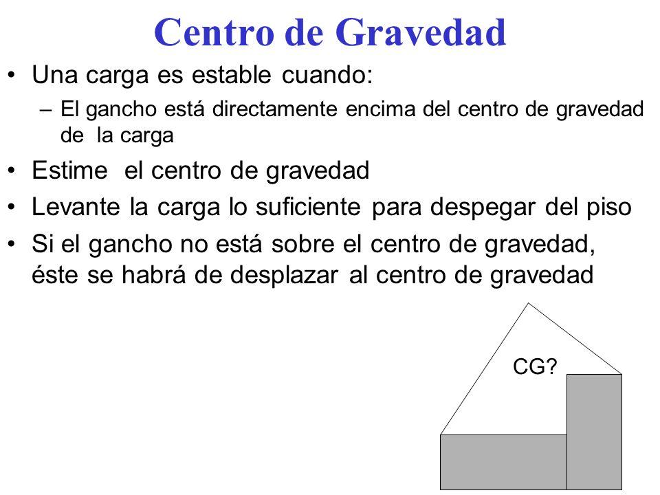 Centro de Gravedad Una carga es estable cuando: –El gancho está directamente encima del centro de gravedad de la carga Estime el centro de gravedad Le