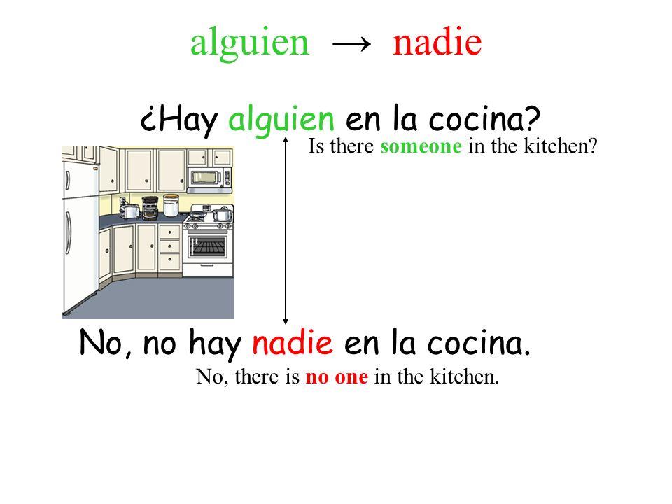 ¿Hay alguien en la cocina. No, no hay nadie en la cocina.