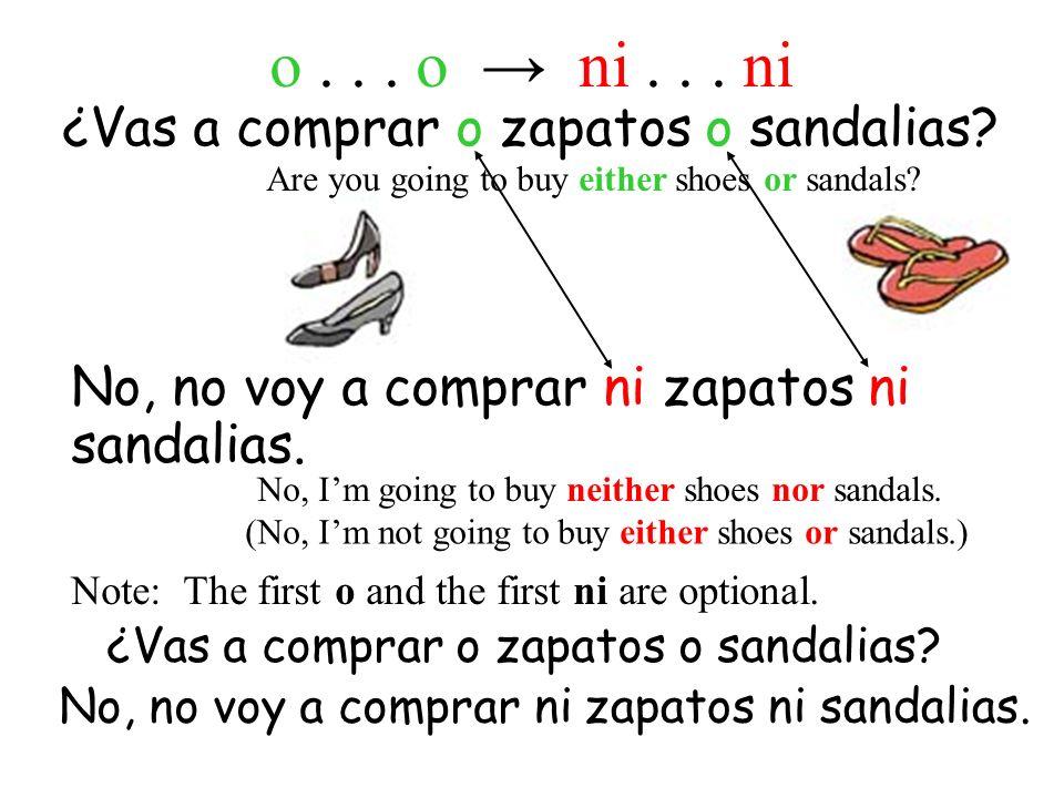 ¿Vas a compraro No, no voy a comprar ni zapatos ni sandalias.