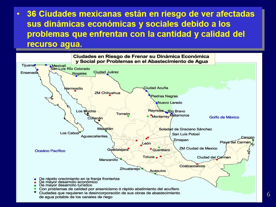 36 Ciudades mexicanas están en riesgo de ver afectadas sus dinámicas económicas y sociales debido a los problemas que enfrentan con la cantidad y cali