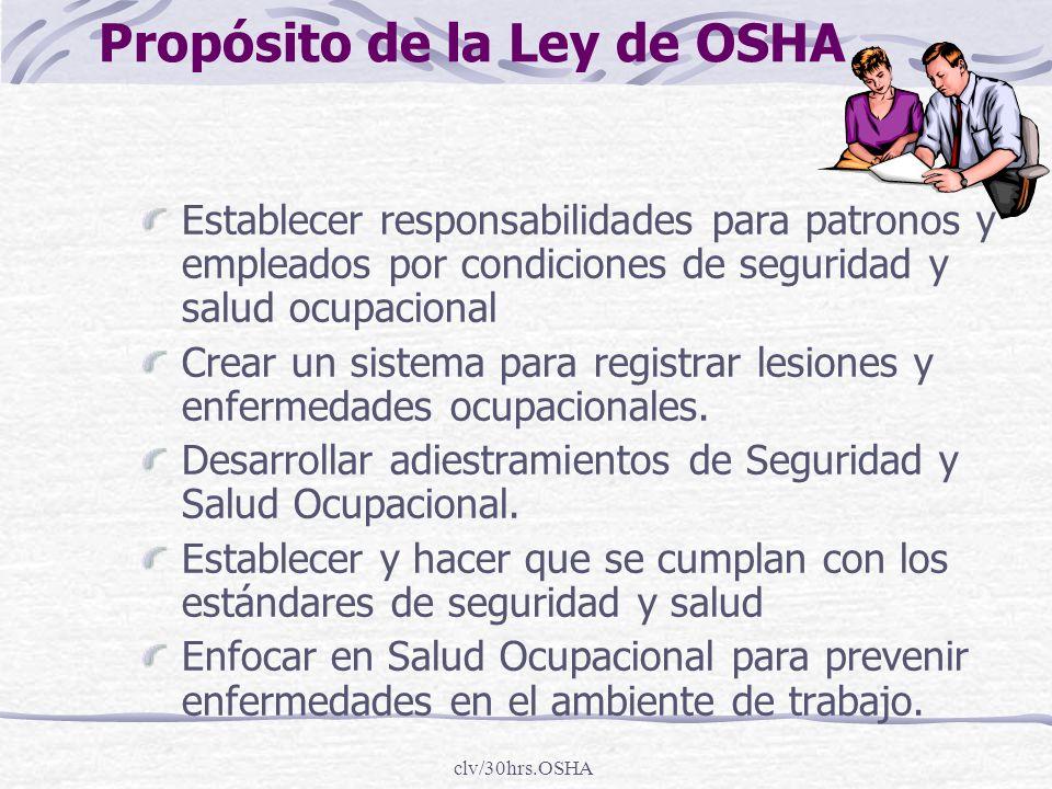 clv/30hrs.OSHA Propósito de la Ley de OSHA Establecer responsabilidades para patronos y empleados por condiciones de seguridad y salud ocupacional Cre