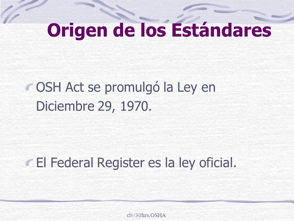 clv/30hrs.OSHA Origen de los Estándares OSH Act se promulgó la Ley en Diciembre 29, 1970. El Federal Register es la ley oficial.