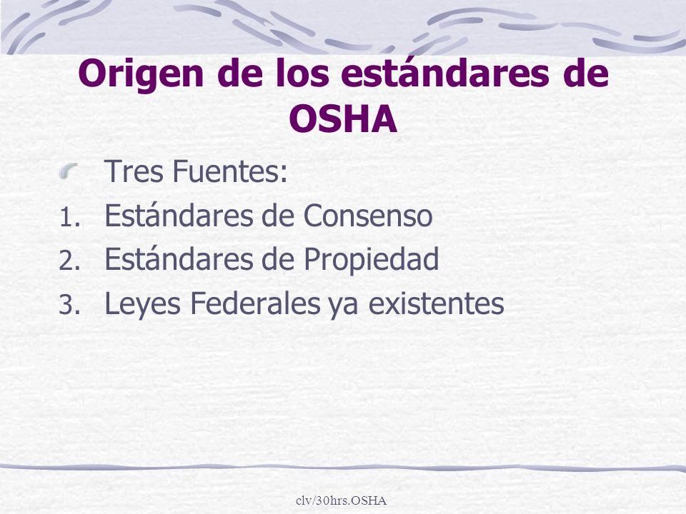 clv/30hrs.OSHA Origen de los estándares de OSHA Tres Fuentes: 1. Estándares de Consenso 2. Estándares de Propiedad 3. Leyes Federales ya existentes