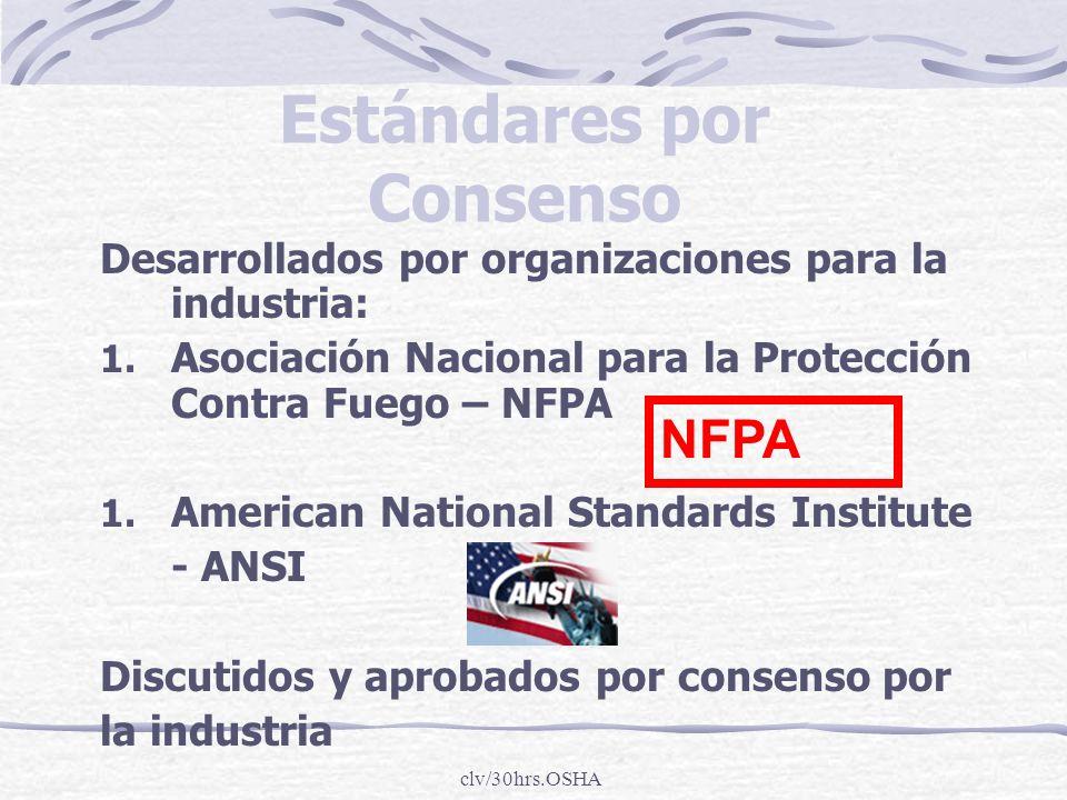 clv/30hrs.OSHA Estándares por Consenso Desarrollados por organizaciones para la industria: 1. Asociación Nacional para la Protección Contra Fuego – NF