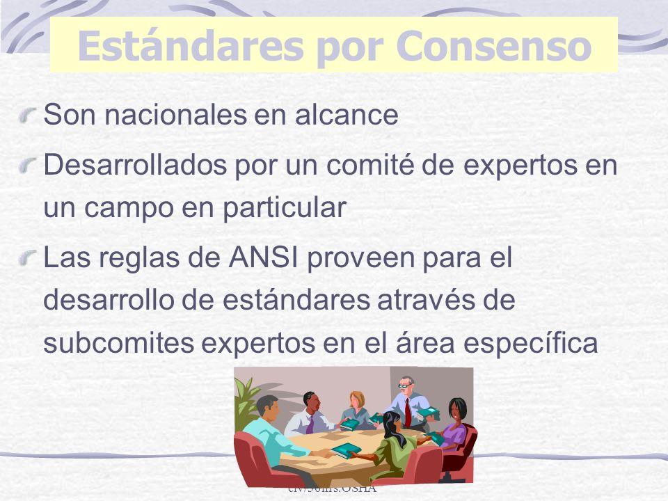 clv/30hrs.OSHA Estándares por Consenso Son nacionales en alcance Desarrollados por un comité de expertos en un campo en particular Las reglas de ANSI