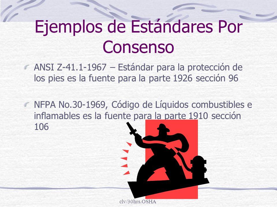 clv/30hrs.OSHA Ejemplos de Estándares Por Consenso ANSI Z-41.1-1967 – Estándar para la protección de los pies es la fuente para la parte 1926 sección