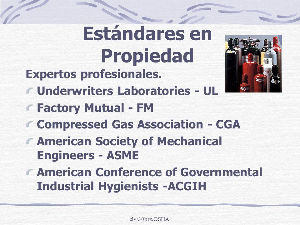 clv/30hrs.OSHA Estándares en Propiedad Expertos profesionales. Underwriters Laboratories - UL Factory Mutual - FM Compressed Gas Association - CGA Ame