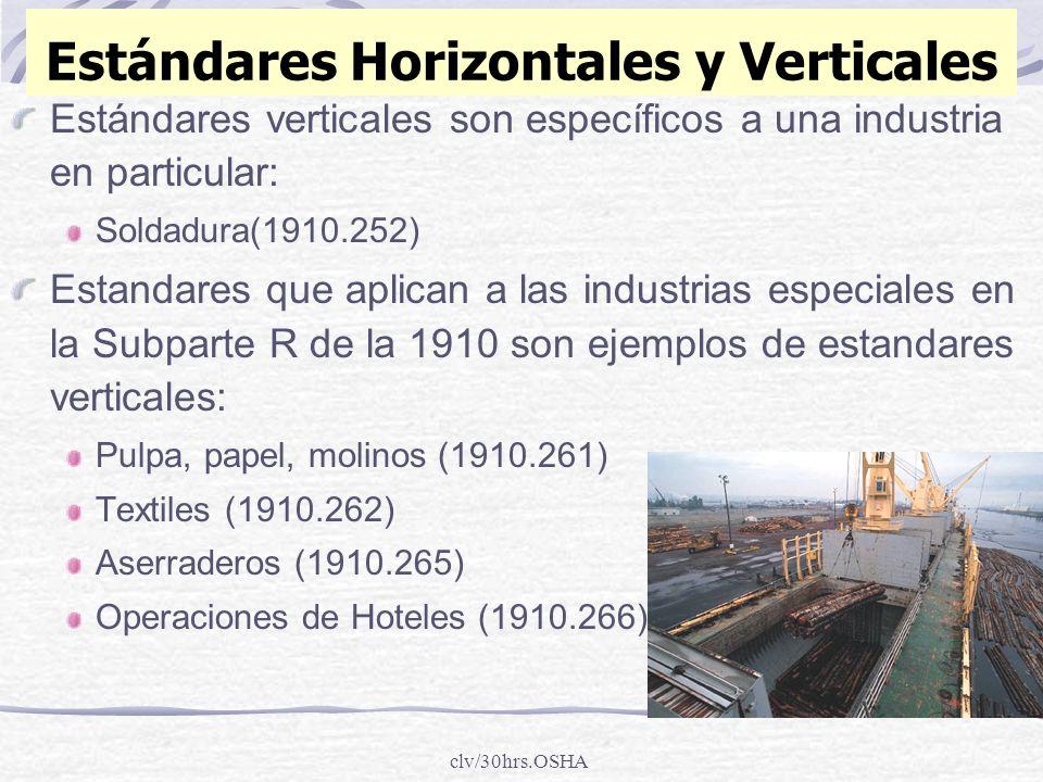 clv/30hrs.OSHA Estándares Horizontales y Verticales Estándares verticales son específicos a una industria en particular: Soldadura(1910.252) Estandare