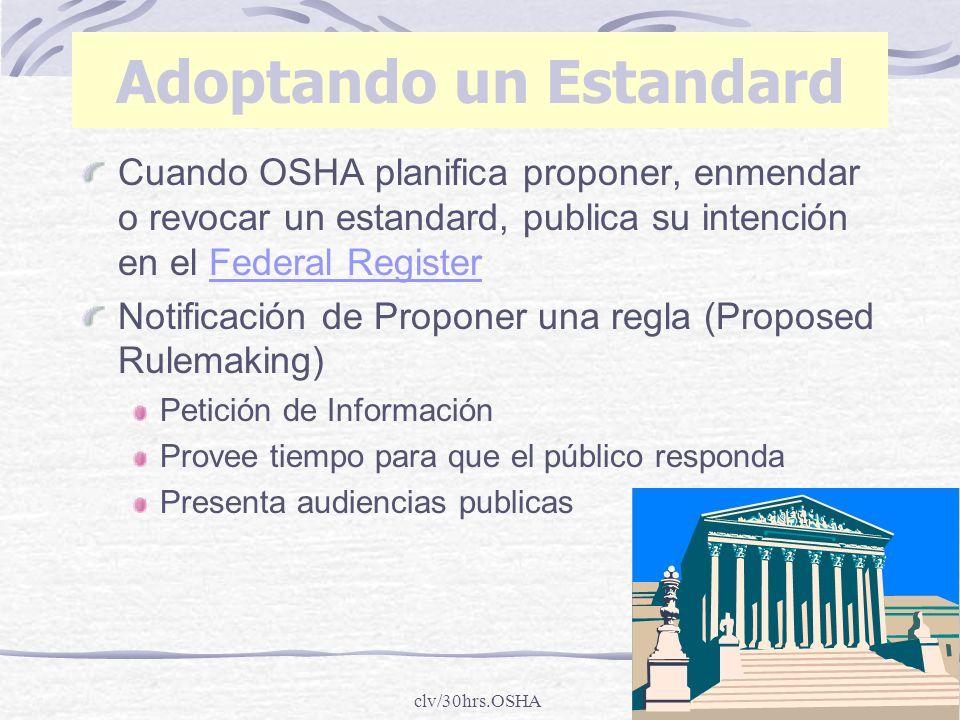 clv/30hrs.OSHA Cuando OSHA planifica proponer, enmendar o revocar un estandard, publica su intención en el Federal Register Notificación de Proponer u