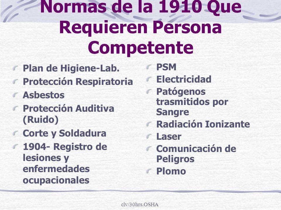 clv/30hrs.OSHA Normas de la 1910 Que Requieren Persona Competente Plan de Higiene-Lab. Protección Respiratoria Asbestos Protección Auditiva (Ruido) Co