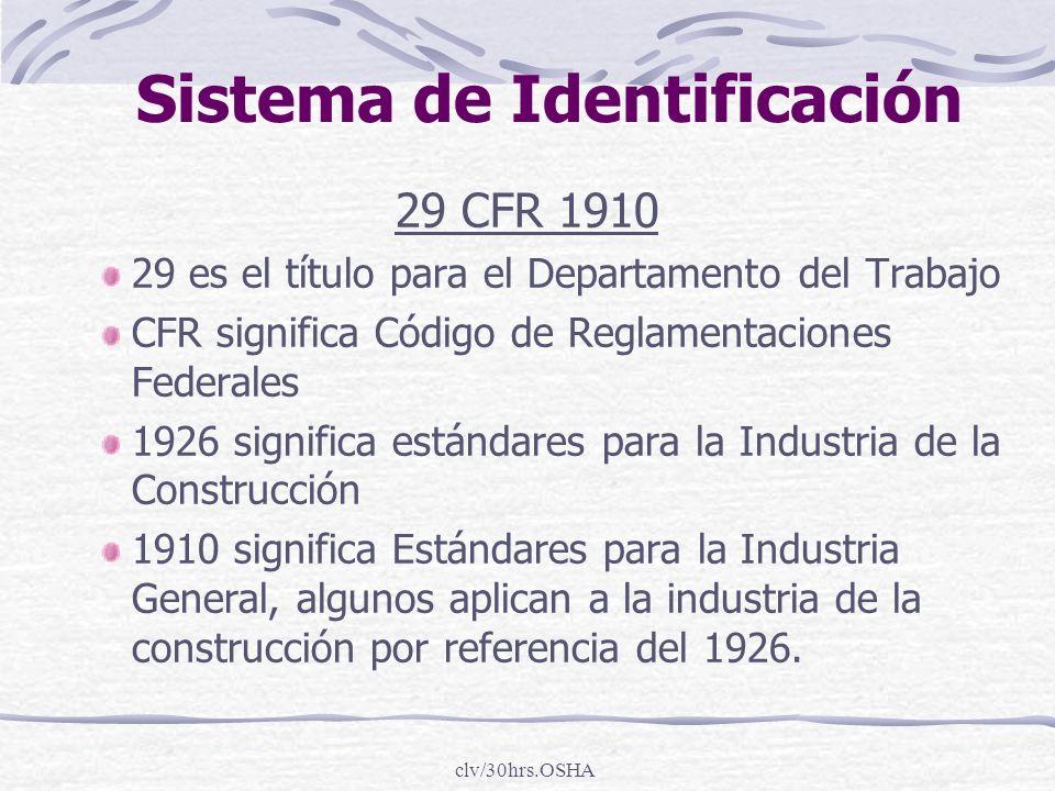 clv/30hrs.OSHA Sistema de Identificación 29 CFR 1910 29 es el título para el Departamento del Trabajo CFR significa Código de Reglamentaciones Federal
