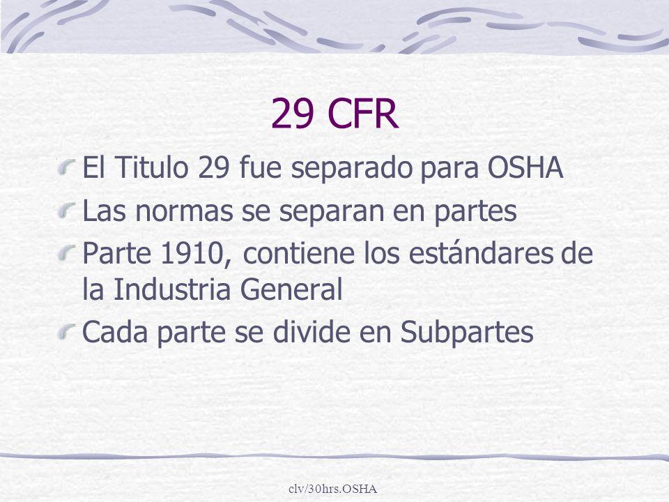 clv/30hrs.OSHA 29 CFR El Titulo 29 fue separado para OSHA Las normas se separan en partes Parte 1910, contiene los estándares de la Industria General