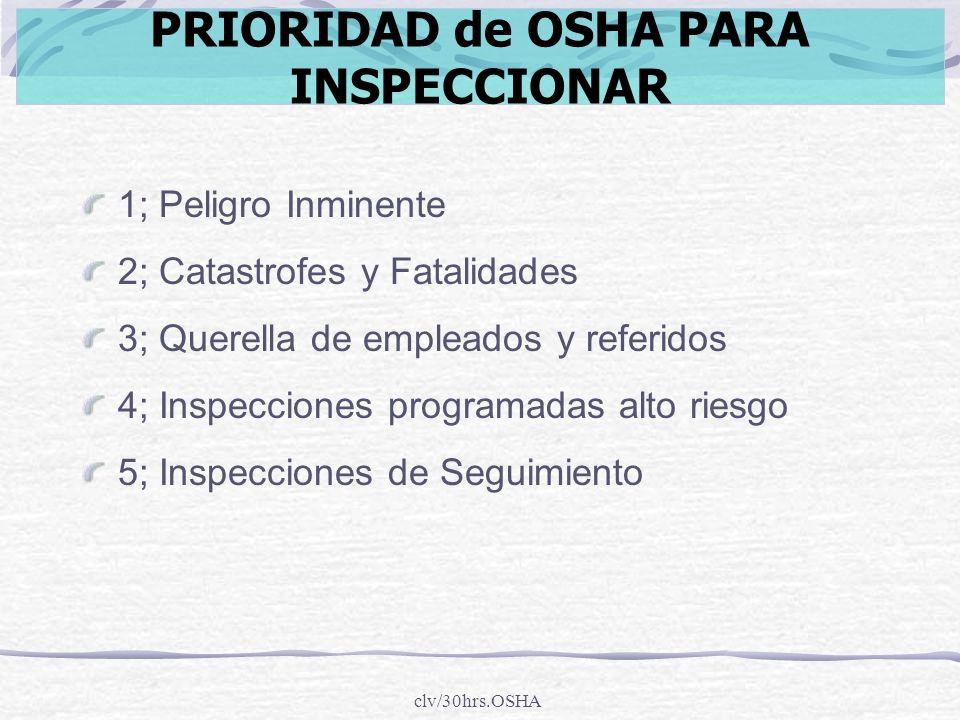 clv/30hrs.OSHA 1; Peligro Inminente 2; Catastrofes y Fatalidades 3; Querella de empleados y referidos 4; Inspecciones programadas alto riesgo 5; Inspe