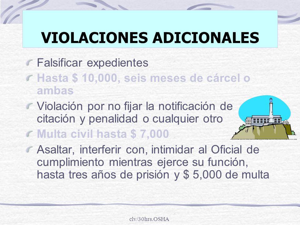 clv/30hrs.OSHA VIOLACIONES ADICIONALES Falsificar expedientes Hasta $ 10,000, seis meses de cárcel o ambas Violación por no fijar la notificación de c