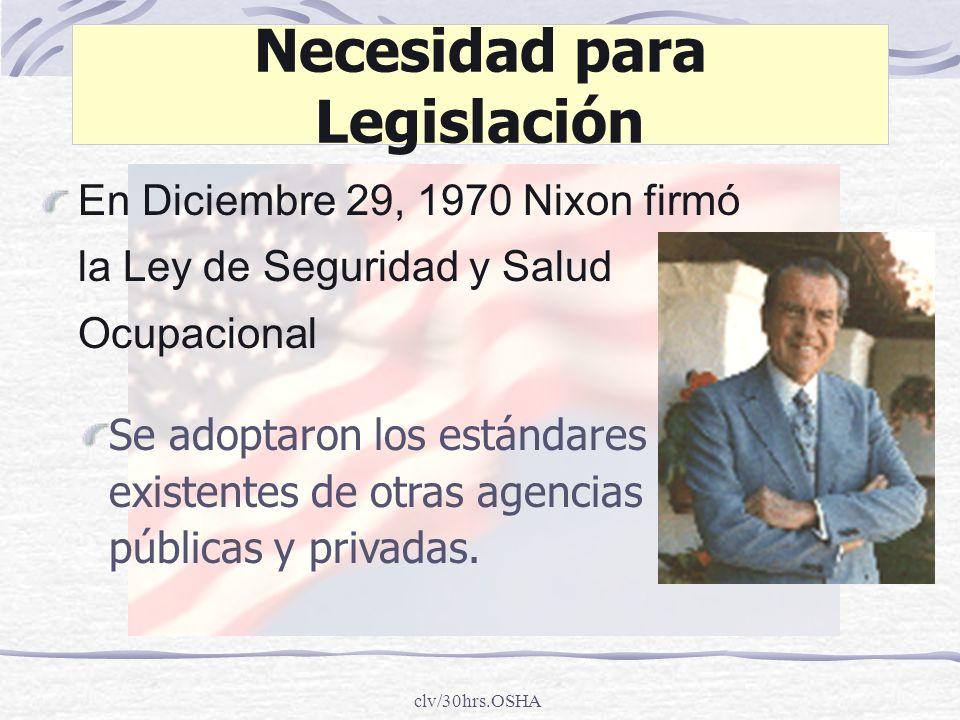 clv/30hrs.OSHA Necesidad para Legislación En Diciembre 29, 1970 Nixon firmó la Ley de Seguridad y Salud Ocupacional Se adoptaron los estándares existe