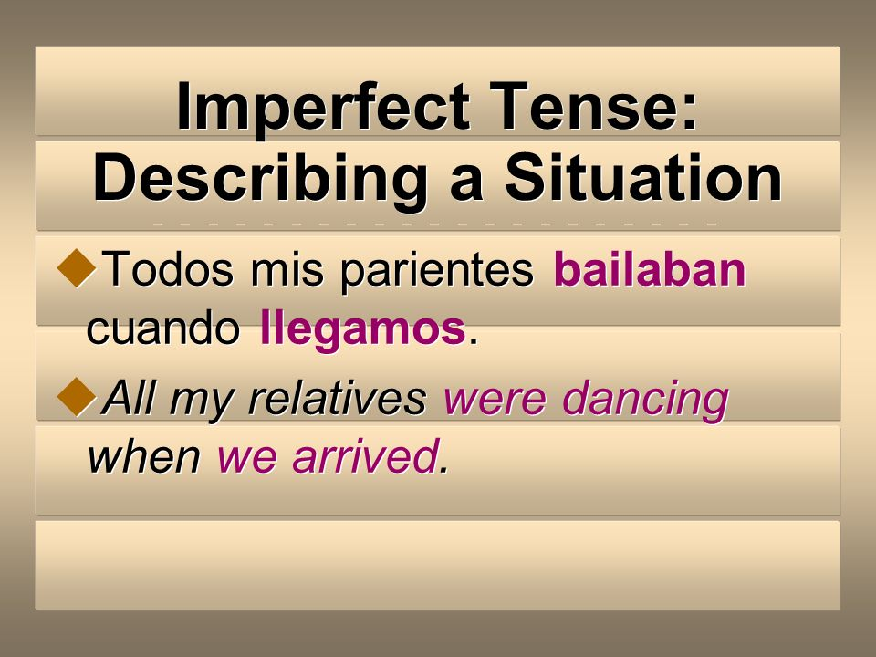 Imperfect Tense: Describing a Situation In these cases, the imperfect tense is used to tell what someone was doing when something happened (preterite.