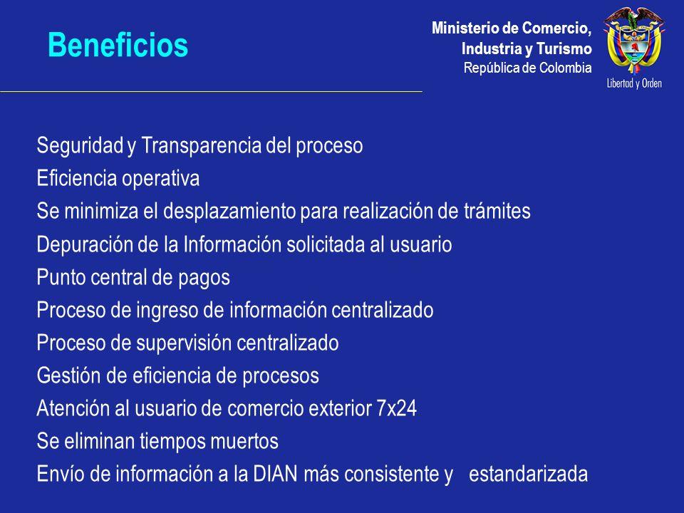 Ministerio de Comercio, Industria y Turismo República de Colombia Beneficios Seguridad y Transparencia del proceso Eficiencia operativa Se minimiza el