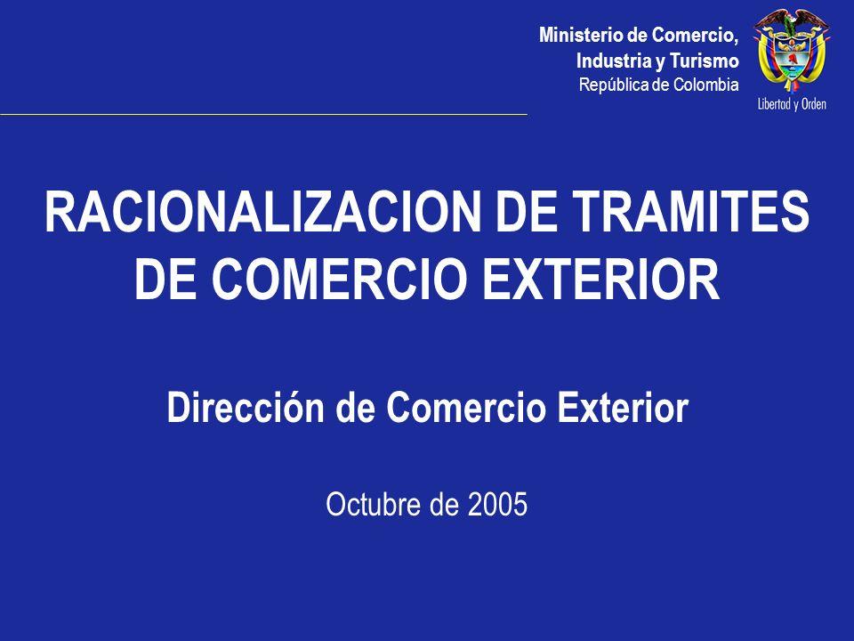 Ministerio de Comercio, Industria y Turismo República de Colombia Funcionamiento Vuce Entidades que autorizan previamente la Exportación e Importación ICA INVIMA MINCOMERCIO MINAGRICULTURA MINMINAS MINAMBIENTE INDUMIL INGEOMINAS OTROS...