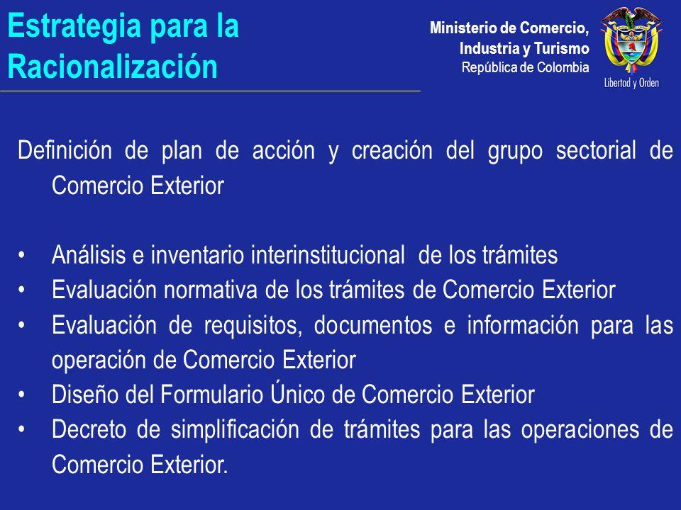 Ministerio de Comercio, Industria y Turismo República de Colombia Decreto 4149 de 2004 Objetivo Alcance Trámite electrónico a través de la Ventanilla Única de Comercio Exterior, que cuenta con consulta electrónica de RUE y RUT, para: Importación, Exportación y Registro con el Formulario Único de Comercio Exterior Inspección Única en puertos.