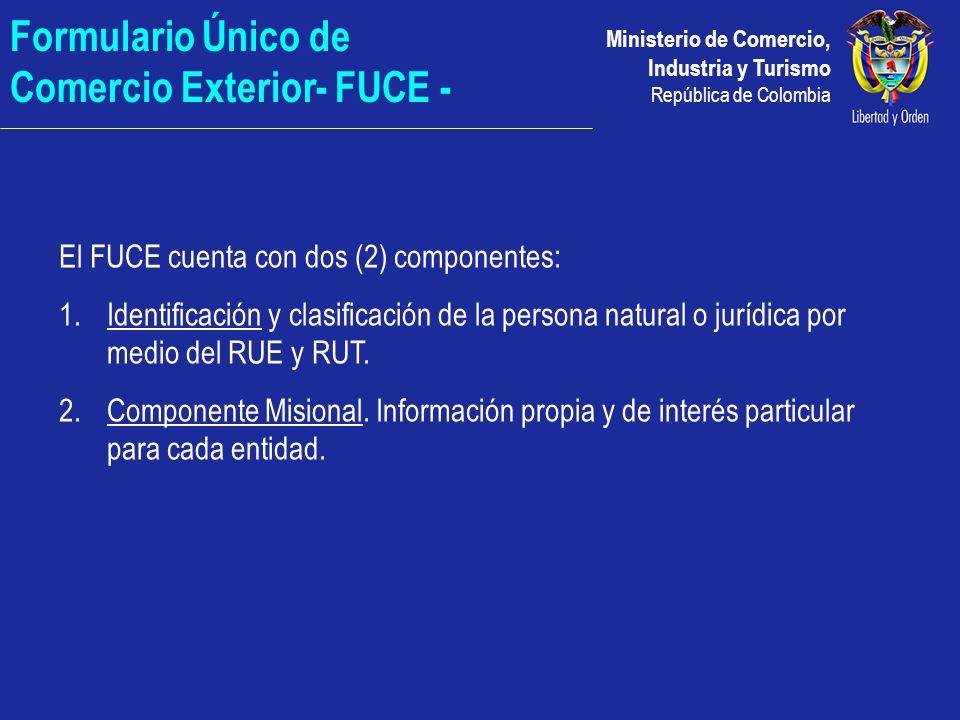 Ministerio de Comercio, Industria y Turismo República de Colombia Formulario Único de Comercio Exterior- FUCE - El FUCE cuenta con dos (2) componentes