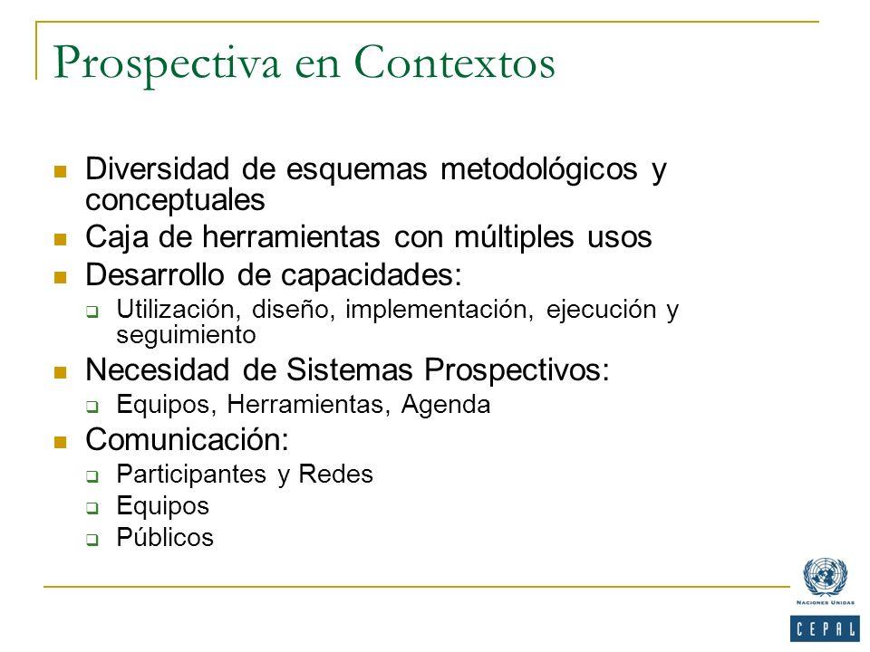 Prospectiva en Contextos Diversidad de esquemas metodológicos y conceptuales Caja de herramientas con múltiples usos Desarrollo de capacidades: Utiliz
