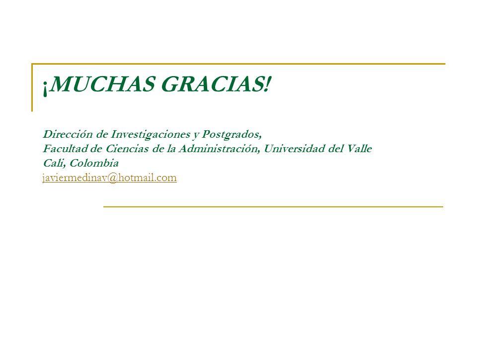 ¡MUCHAS GRACIAS! Dirección de Investigaciones y Postgrados, Facultad de Ciencias de la Administración, Universidad del Valle Cali, Colombia javiermedi