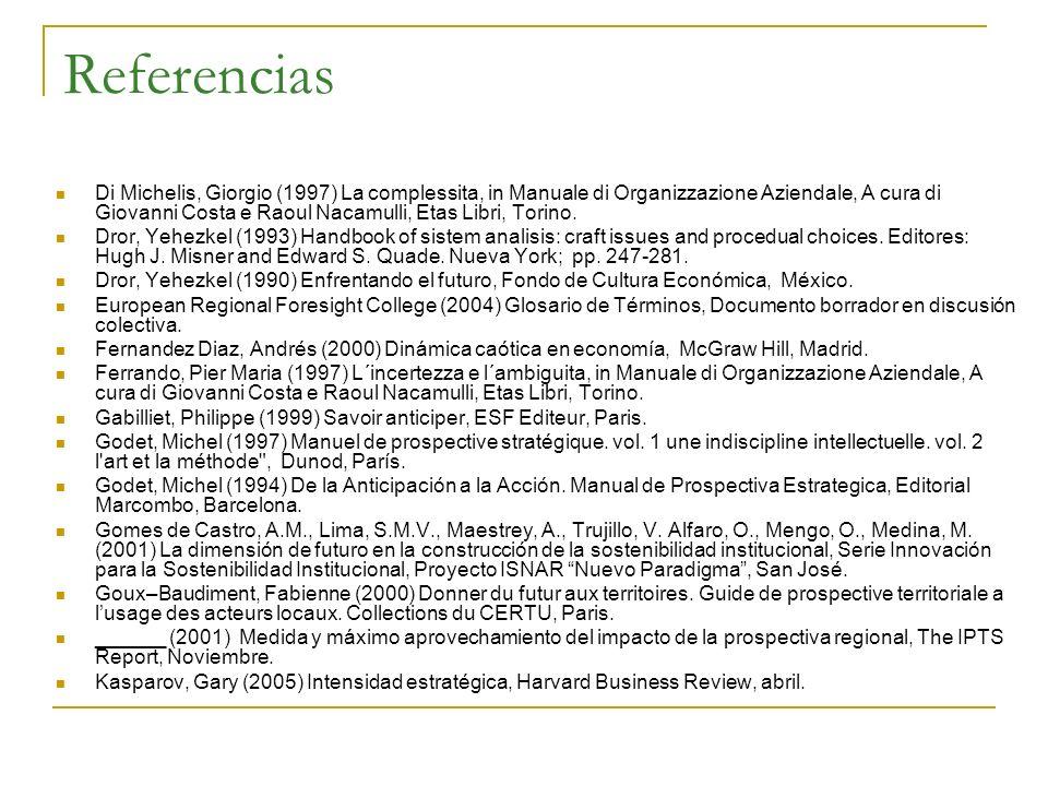 Referencias Di Michelis, Giorgio (1997) La complessita, in Manuale di Organizzazione Aziendale, A cura di Giovanni Costa e Raoul Nacamulli, Etas Libri