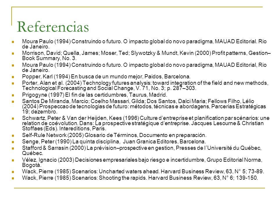 Referencias Moura Paulo (1994) Construindo o futuro. O impacto global do novo paradigma, MAUAD Editorial. Rio de Janeiro. Morrison, David; Quella, Jam