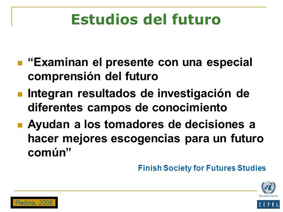 Examinan el presente con una especial comprensión del futuro Integran resultados de investigación de diferentes campos de conocimiento Ayudan a los to