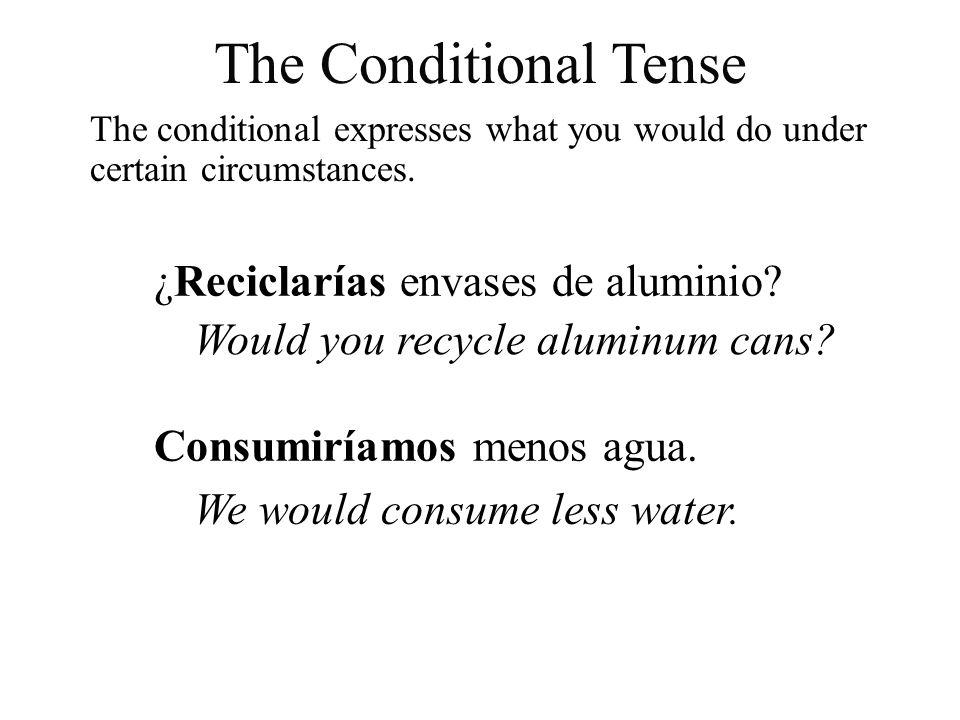 The conditional expresses what you would do under certain circumstances. ¿Reciclarías envases de aluminio? Would you recycle aluminum cans? Consumiría