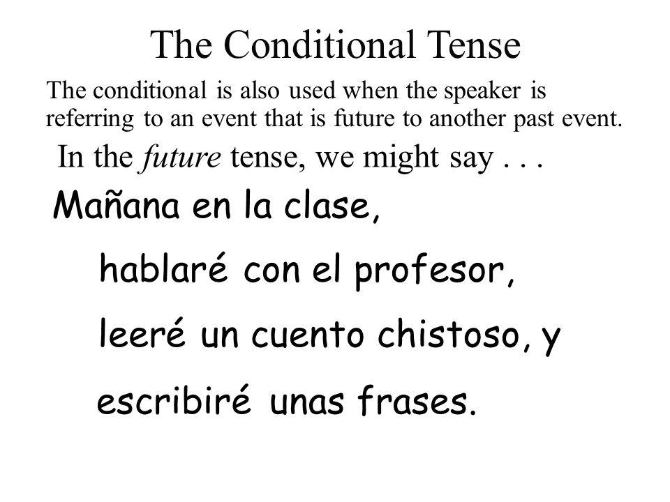 leer escribir hablar In the future tense, we might say... con el profesor, Mañana en la clase, é éun cuento chistoso, y éunas frases. The conditional