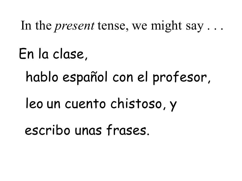español con el profesor,aré le escrib habl In the future tense, we would say...