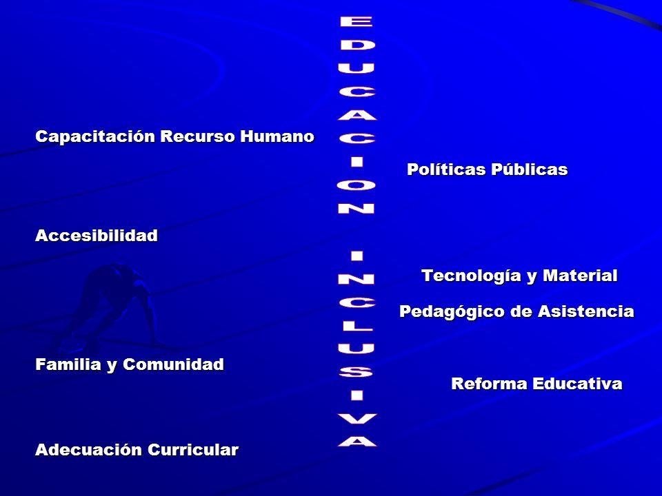 Capacitación Recurso Humano Políticas Públicas Políticas PúblicasAccesibilidad Tecnología y Material Tecnología y Material Pedagógico de Asistencia Pedagógico de Asistencia Familia y Comunidad Reforma Educativa Reforma Educativa Adecuación Curricular