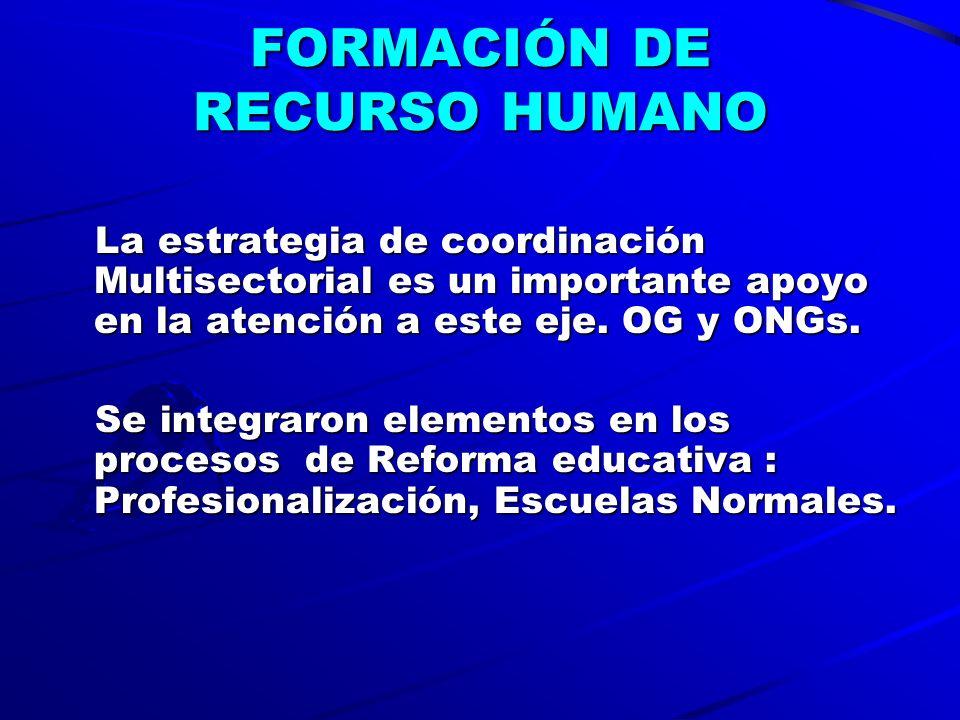 FORMACIÓN DE RECURSO HUMANO La estrategia de coordinación Multisectorial es un importante apoyo en la atención a este eje.
