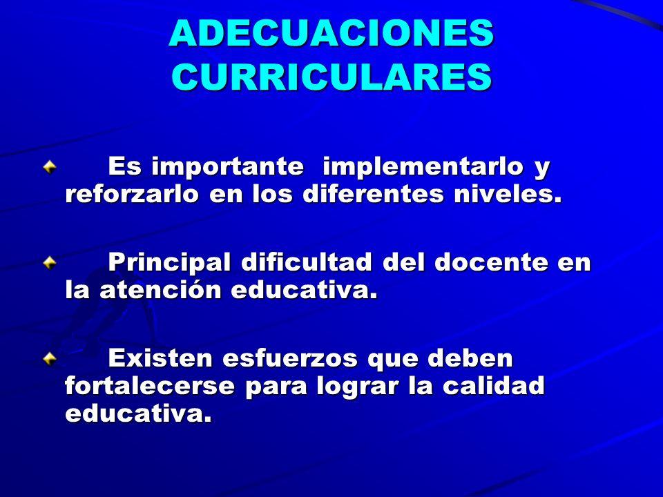 ADECUACIONES CURRICULARES Es importante implementarlo y reforzarlo en los diferentes niveles.