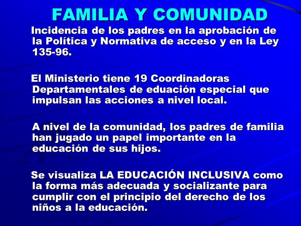 FAMILIA Y COMUNIDAD Incidencia de los padres en la aprobación de la Política y Normativa de acceso y en la Ley 135-96.