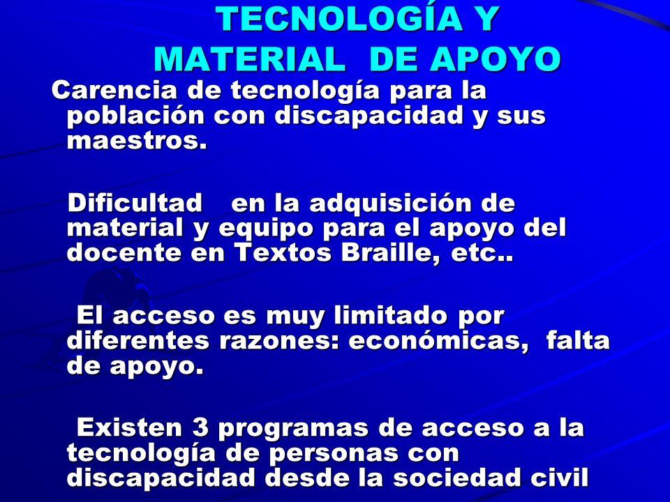 TECNOLOGÍA Y MATERIAL DE APOYO Carencia de tecnología para la población con discapacidad y sus maestros.