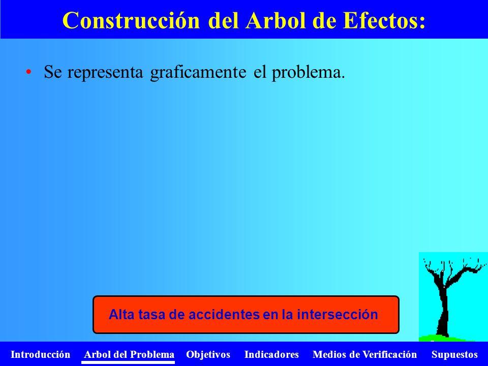 Introducción Arbol del Problema Objetivos Indicadores Medios de Verificación Supuestos Se representa graficamente el problema. Construcción del Arbol