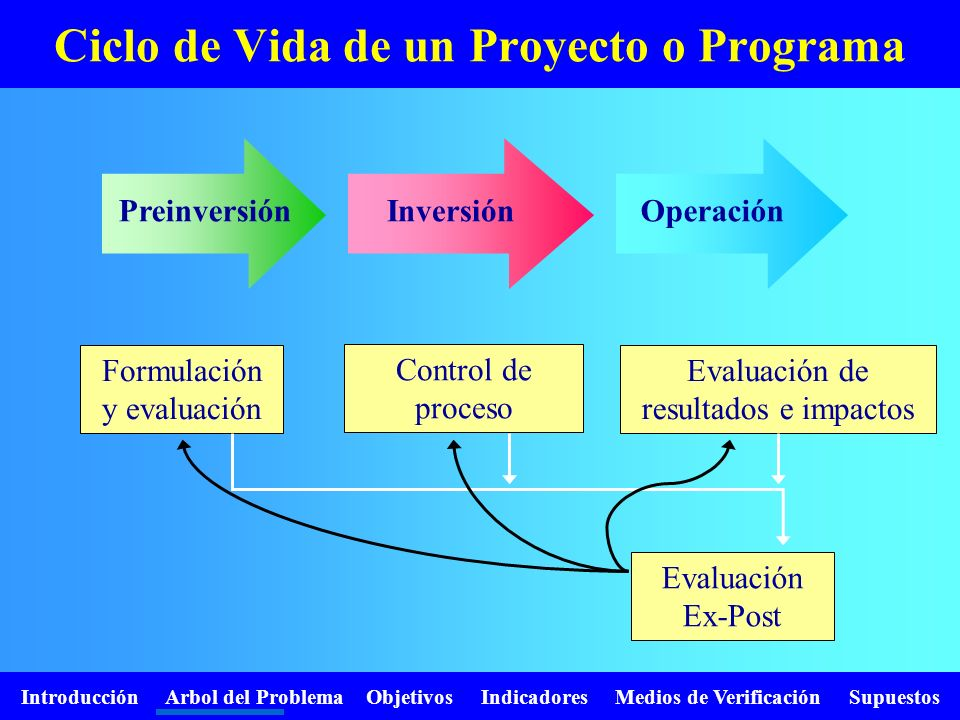 Introducción Arbol del Problema Objetivos Indicadores Medios de Verificación Supuestos Ciclo de Vida de un Proyecto o Programa PreinversiónInversiónOp