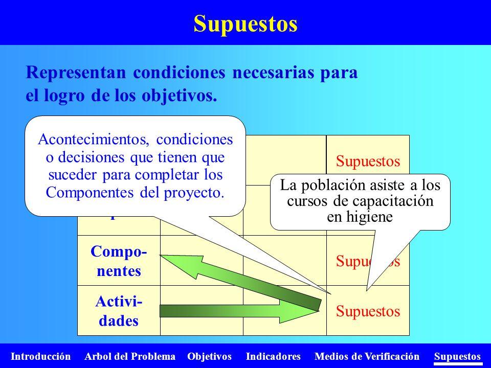 Introducción Arbol del Problema Objetivos Indicadores Medios de Verificación Supuestos Representan condiciones necesarias para el logro de los objetiv