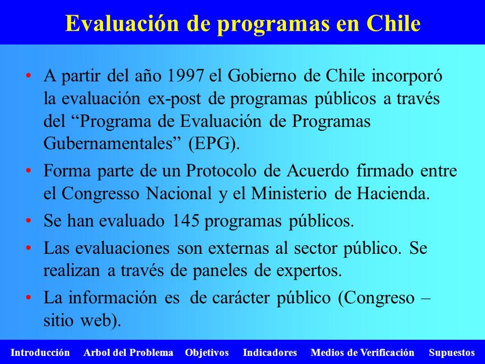 Evaluación de programas en Chile A partir del año 1997 el Gobierno de Chile incorporó la evaluación ex-post de programas públicos a través del Program
