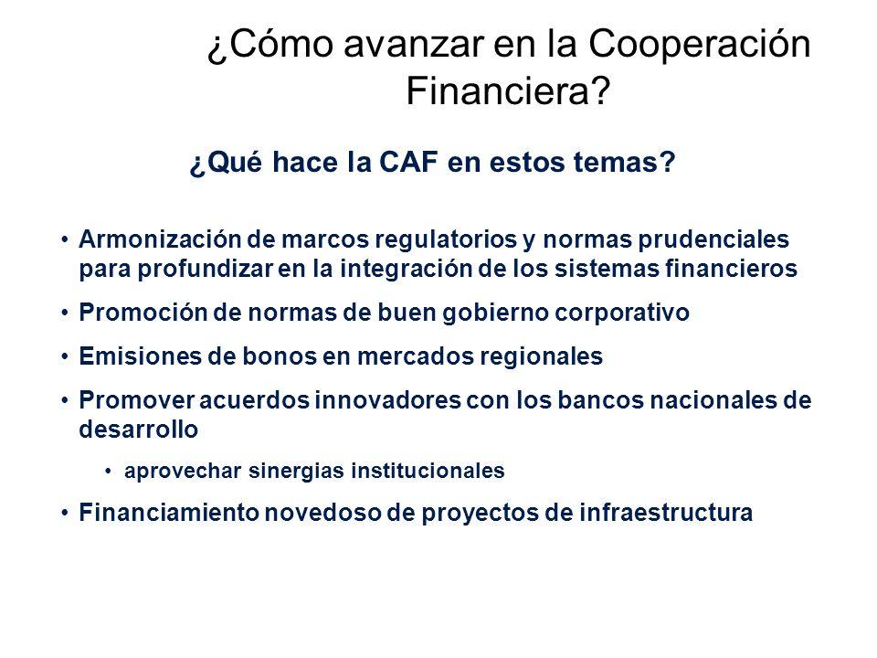 ¿Cómo avanzar en la Cooperación Financiera. ¿Qué hace la CAF en estos temas.