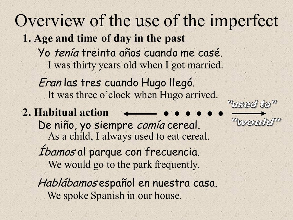 2.Habitual action 1.Age and time of day in the past Yo tenía treinta años cuando me casé. Overview of the use of the imperfect I was thirty years old