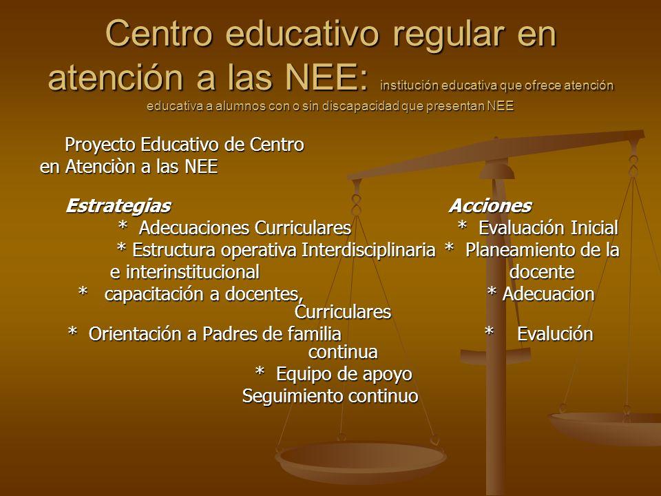 Centro educativo regular en atención a las NEE: institución educativa que ofrece atención educativa a alumnos con o sin discapacidad que presentan NEE